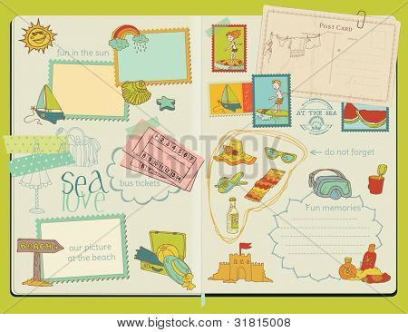 Vector Scrapbook Design Elements - Summer Beach Set - hand drawn in notepad