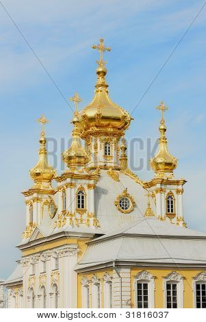 White Cathedral with golden cupolas in Peterhof