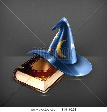 Chapéu de assistente e antigo livro
