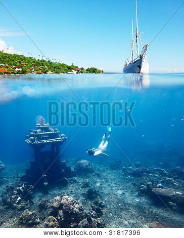 Collage with woman diving to underwater landmark on a breath hold and sail boat on water surface with main land on the horizon