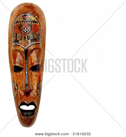 The African wooden mask on a white background