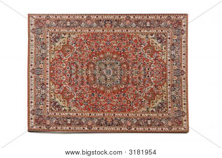 Persian Rug Isolated On White Background, Stock Photo