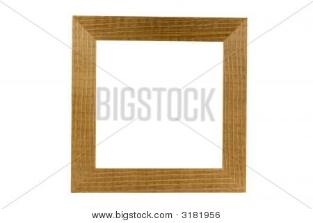 Marco de madera simple aislado en blanco, Clipping Path