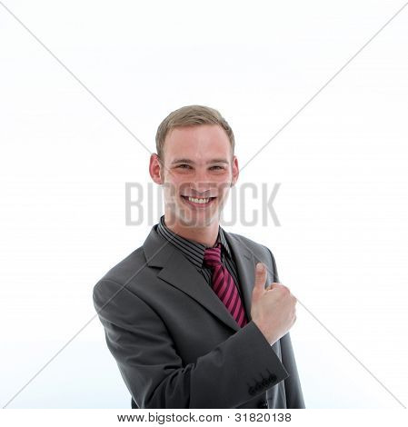 Confident Businessman Giving Thumbs Up