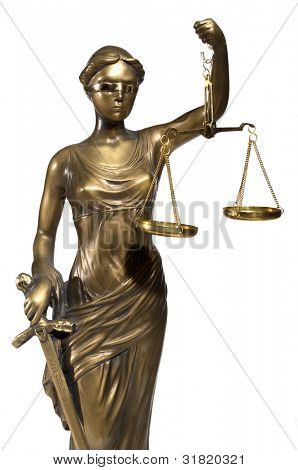 Lady of Justice on white background