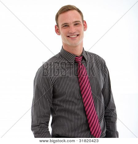 Young Smiling Man On White Background
