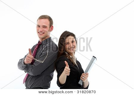 Enthusiastic Business Colleagues Giving Thumbs Up