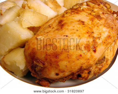 Roast Chicken With Spices And Fried Potatoes