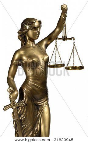 Senhora da Justiça sobre fundo branco