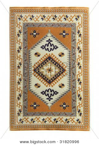 Arabian silk carpet on white background