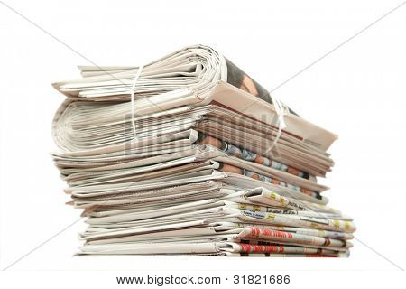 Greater pack of newspapers on a table