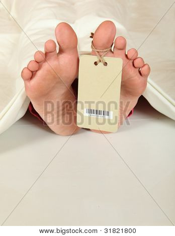 Human feet with identity tag
