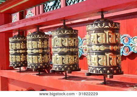 Golden prayer wheels, Tibet