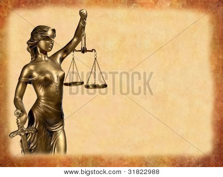 Lady of Justice on brown background