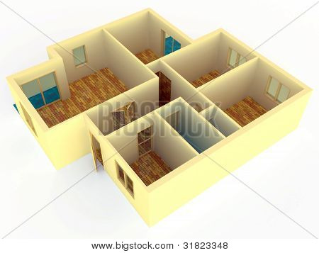 Perspective View Of Apartment With Walls