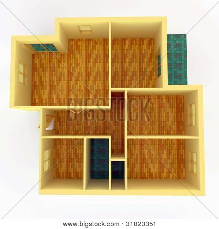 Top View Of Apartment With Walls