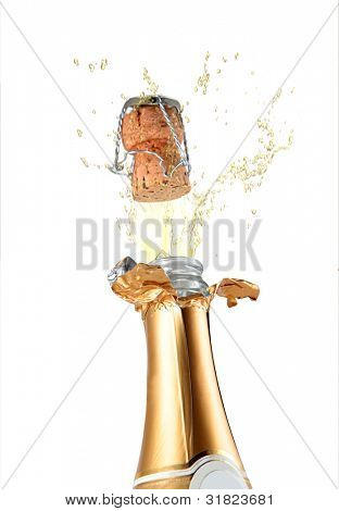 Champagne bottle cork popping