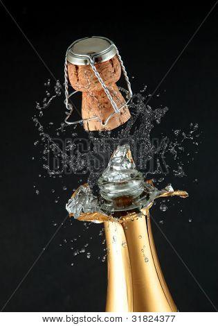 Champagne bottle cork popping