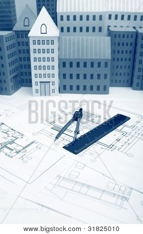 Blueprint Technical cad documentation architectural background