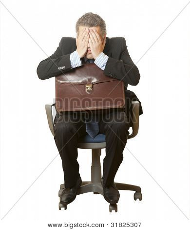 A scared businessman bookkeeper in a chair isolated on a white background