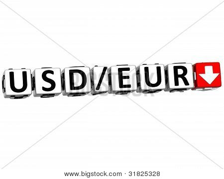 3D Currency Usd Eur Rate Concept Symbol Button