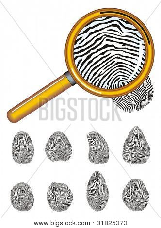 Magnifying glass with fingerprint on the white background. Vector