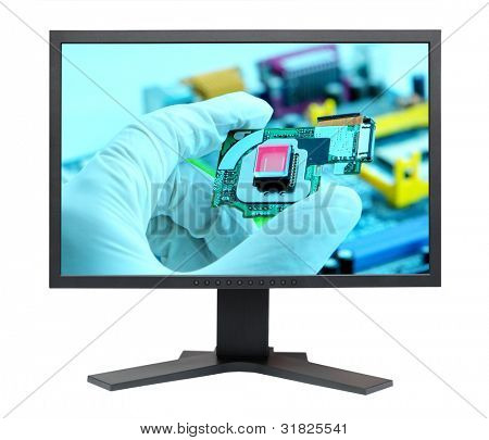 LCD S-PVA HD display panel type side view isolated on white background