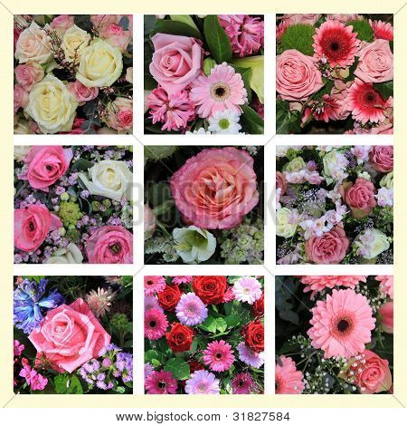 Mixed Pink Flower Collage