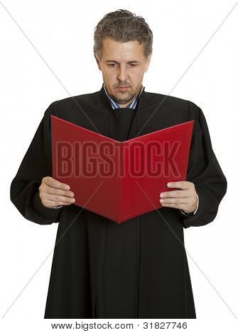 Portrait of an angry middle aged male judge isolated over white background