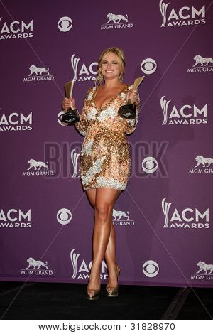 LAS VEGAS - APR 1:  Miranda Lambert in the press room at the 2012 Academy of Country Music Awards at MGM Grand Garden Arena on April 1, 2012 in Las Vegas, NV.