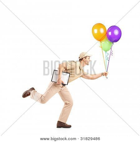 Delivery boy in a rush delivering balloons isolated on white background
