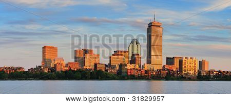Boston city skyline panorama with Prudential Tower and urban skyscrapers over Charles River.