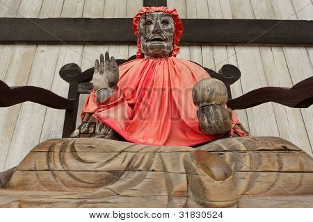 Pindola divinity wooden statue at Todaiji temple, Nara, Japan