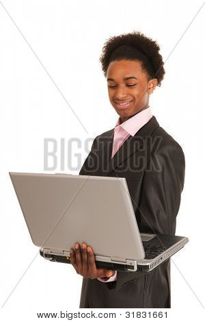 Black business man happy with laptop isolated over white background