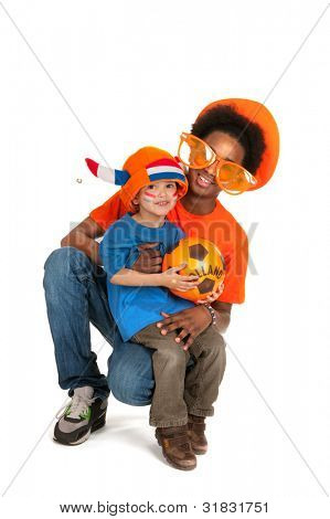 Dutch brothers as soccer fan isolated over white background