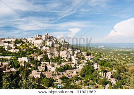 landscape with hilltop village Gordes in the French Provence