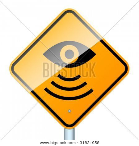Road sign warns about road video surveillance isolated in white background