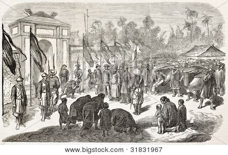 Vice-admiral Bonard arrival in French mission's lodging in Hue, Assam (Vietnam). Created by Worms, published on L'Illustration, Journal Universel, Paris, 1863