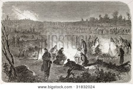 American civil war: Federal army encampment in Fredericksburg surroundings. Created by Janet-Lange, published on L'illustration, Journal Universel, Paris, 1863