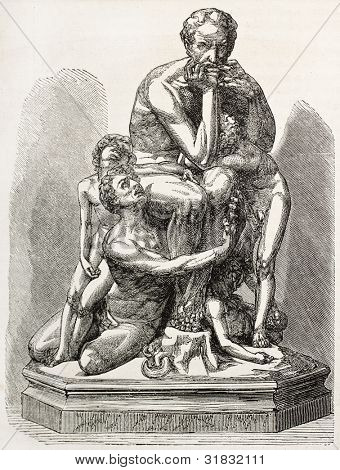 Ugolino della Gherardesca and his sons sculpted group (Italian nobleman, described in Dante's Divine Commedy as a betrayer). By Gilbert after sculpture of Carpeaux, publ. on L'Illustration, Paris 1863