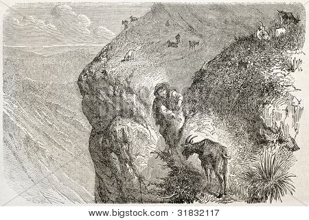 Shepherd and goat on the Alps old illustration. Created by Girardet, published on L'Illustration, Journal Universel, Paris, 1863