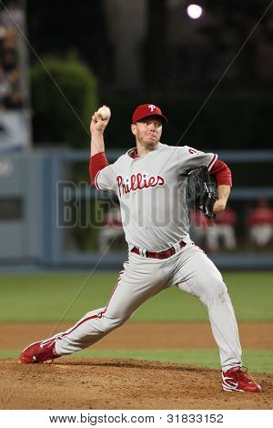 LOS ANGELES - AUG 30: Phillies pitcher (#34) Roy Halladay during the Phillies vs. Dodgers game on Aug 30 2010 at Dodgers Stadium.