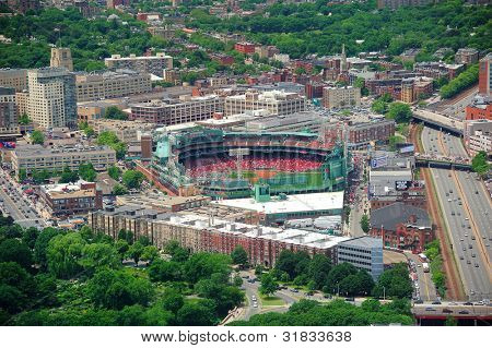 BOSTON, MA - JUN 19: Fenway Park aerial view on June 19, 2011 in Boston, Massachusetts. Fenway Park has served as the homeof the Boston Red Sox baseball club since 1912 as the oldest Baseball stadium.