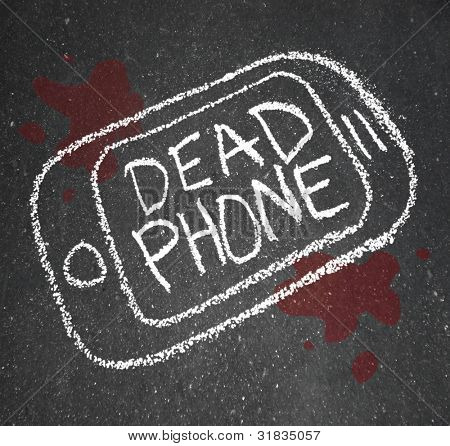 A chalk outline of a dead phone on pavement with blood around it, symbolizing a smart cell phone that is damaged, cracked or broken, or an old telephone that needs to be replaced with a new model