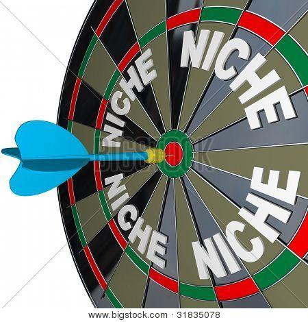 ein blauer Pfeil trifft ein Bulls Eye, einen einzigartige Nischenmarkt mit Wörtern, die mehrere Nischen auf zu finden