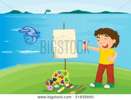 boy painting at beach