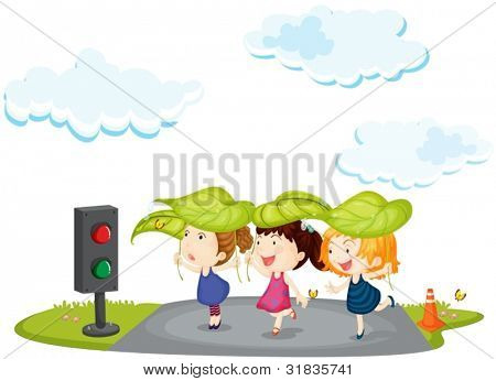 Illustration of kids crossing the street