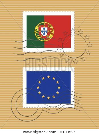 Portugal And European Union - Stamps With Flag