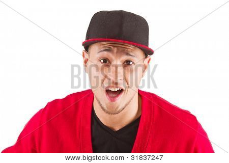 Young asian man in disbelieve. Isolate over pure whit background.