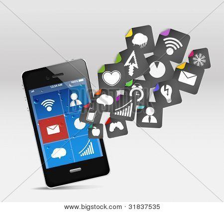 Moderno teléfono móvil y redes sociales